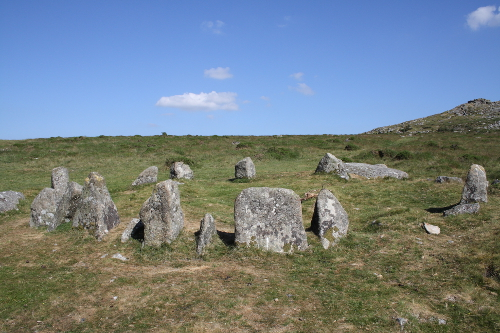 The Nine Maidens stone circle near Belstone Tor
