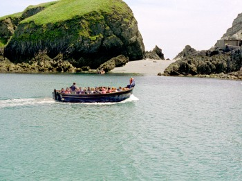 Going ashore in Lundy's landing bay