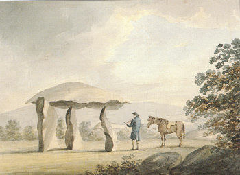 1792 watercolour of Spinster's Rock by Revd. John Swete