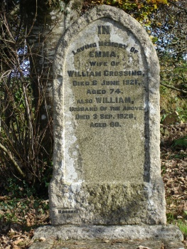 Headstone of William and Emma Crossing in Mary Tavy churchyard