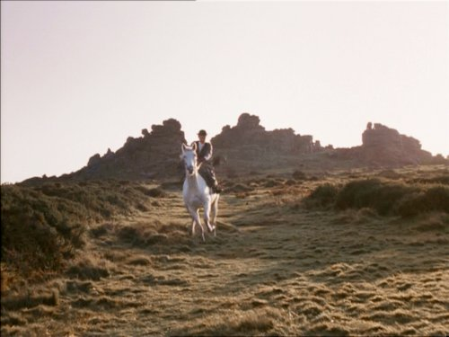 Hound Tor seen in the 1983 film of Hound of the Baskervilles