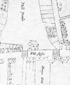 Detail from John Roope's 1619 map of Dartmouth showing Haley's Hall
