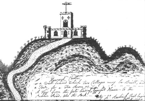 sketch of proposed folly on Heywood Castle motte