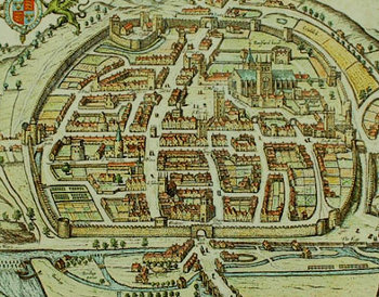The walled city of Exeter in 1563