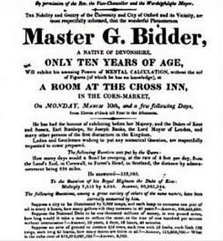 a poster publizing George Bidder's appearance at Oxford in 1817