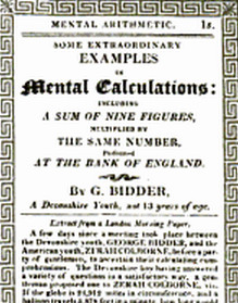 Pamphlet giving Examples of Mental Calculations by G. Bidder
