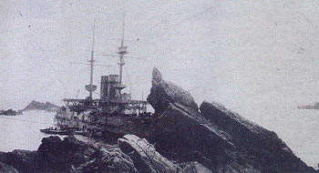 HMS Montagu aground on Shutter Rock in 1906