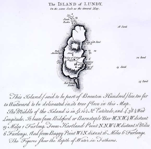 Donn's 1765 Map of Lundy