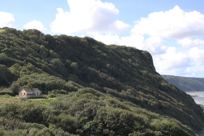 View of Peppercombe Castle and Castle Bungalow