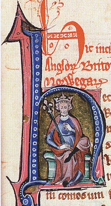 King Canute shown in an initial of a mediaeval mansucript