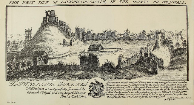 West View of Launceston Castle by Samuel and Nathaniel Buck, 1734