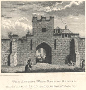 engraving from a 1765 drawing of Exeter's West Gate