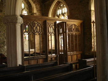 ornate screen in Church of St Mary, West Worlington