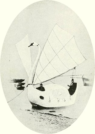The 'Swan of the Exe' showing Capt. Peacock in the stern and Mr Dixon in the bow