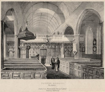 Interior of St Mary's Church in 1842